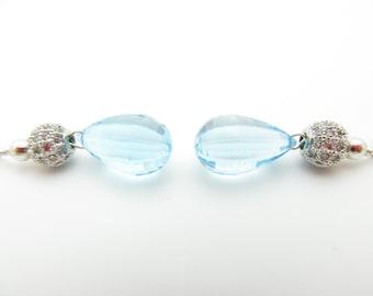 Handmade Blue Topaz Germstone and Sterling Silver Earrings