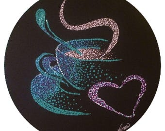 "Dot Pointillism, Acrylic, 12"" round canvas board, original, dot art, pointillist art, coffee mug, pointillism"