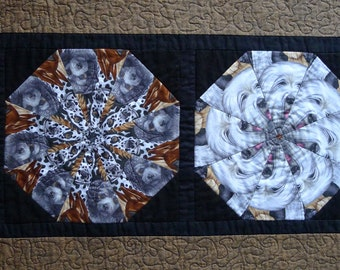 Dogs Kaleidoscope TABLE RUNNER patchwork quilted table topper Neutral handmade cotton runner