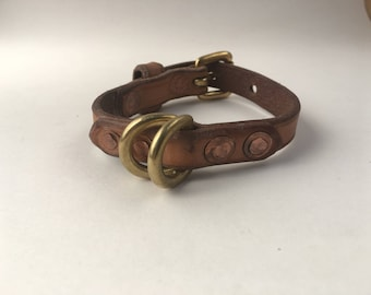 Extra Small Dog Collar in Hermann Oak veg tanned leather and solid brass