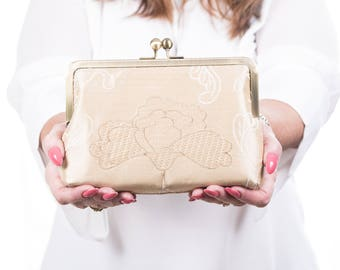 Wedding Purses Ivory, Embroidered Silk Purse, Wedding Clutch, Silk bag, Evening Bag, Bridesmaid Clutch, Can Be Personalised Proposal Message