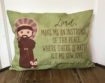Saint Francis of Assisi pillow. Baptism Gift. Lord, Make me an instrument. Catholic Gift. First Communion Gift. Kids St. Francis Gift.