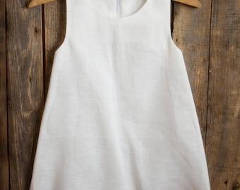 White Linen Dress, Flower Girl, Summer Dress, Rustic Wedding, White Linen, Round Neck, Country Dress, Handmade