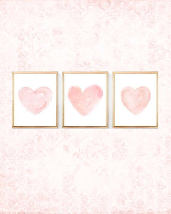 Blush Heart Prints for Nursery, 11x14 Set of 3 Watercolors