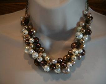 Brown cluster pearl necklace is perfect for bridesmaids-wedding jewelry, statement pearl necklace, bridesmaid jewelry