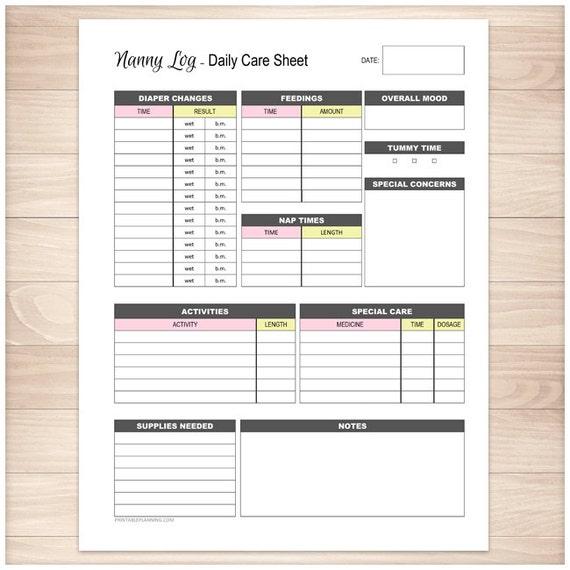 printable nanny daily log