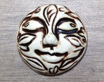Large Leafy Face Ceramic Cabochon Stone in Pewter and Bone White