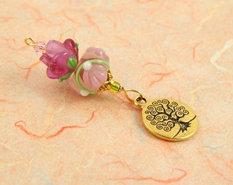 Blessingway bead - Golden Rose Petals Tree of Life - Mother Blessing bead, mama goddess