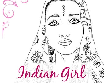 Indian Girl Coloring Page Adult Coloring Book Page Printable