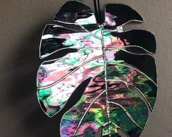 Iridiscent Stained Glass Monserta, Monstera Philodendron Glass