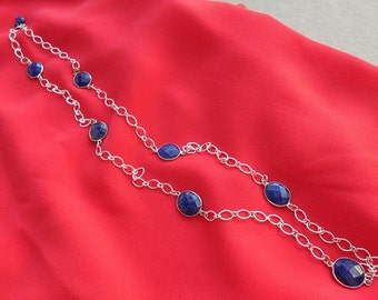 Faceted Lapis Lazuli Station Necklace