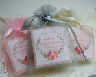 Bridal Shower Favors, Baby shower favors,  set of 10 boho style wreath,  soap favors