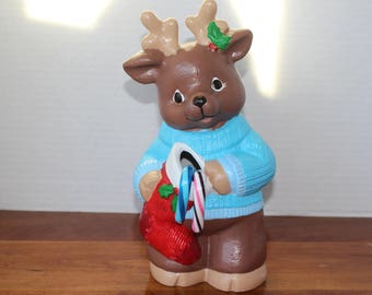 Bisque reindeer with holder hand painted
