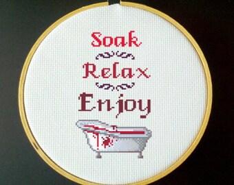 Bloodbath Cross Stitch PDF Pattern - Soak, Relax, Enjoy