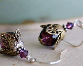 Valentines Gift For Mom, Flower Dangle Earrings, Gift for Mom, Purple Flower Earrings, Gift For Her, Romantic Gift Idea, Christmas Gift