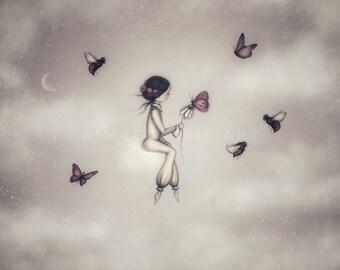 Girls Art, Whimsical Art, Dreamy Art, Moon & Stars, Nursery Art, Wall Art, Bee Art, Butterfly Art, Girl On Cloud, Magical Art, Illustration