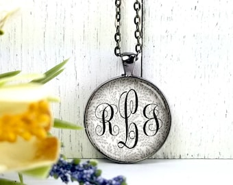 Monogram Lrg Round- Glass Bubble Pendant Necklace- Wedding Gift- Bridesmaids Gifts- Bride Gifts