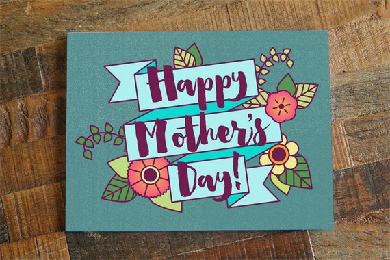 Pretty mothers day card floral card happy mothers