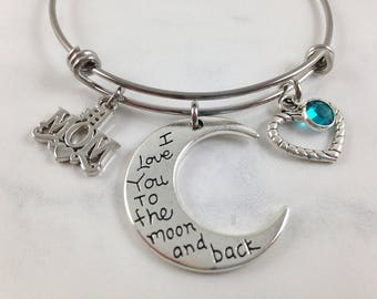 Mom Bracelet, Mothers Day Gift, Mom Birthday Gift, I Love You to the Moon and Back, Birthstone Bracelet, Mom Jewelry, Gift from Kids