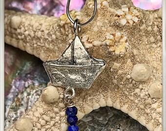 Silver paper boat pendant and lapis lazuli. Silver paper boat necklace and lapis lazuli. Silver Boat pendant. Silver boat necklace.
