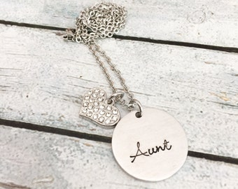 Aunt necklace - Hand stamped necklace - Gift for Aunt - Stainless steel necklace -Custom necklace - Personalized necklace