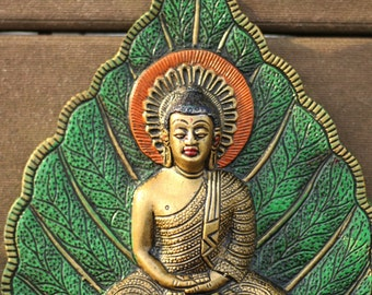 Gold Buddha on a Red or Green Pipal Leaf Wall Hanging