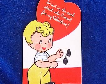 1950's Sunglasses Boy Valentine Card Unused Looks New!