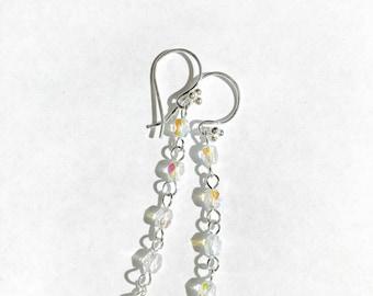 Sky blue topaz, Beaded Chain, Sterling Silver Earrings, Drop Earrings, Dangle Earrings,