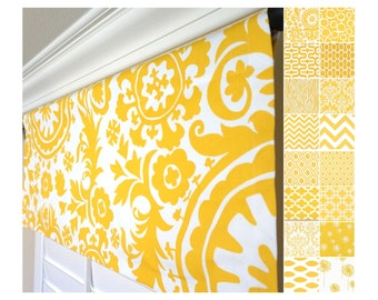 Yellow Valance.Window Valance.Curtain Valance.Kitchen Valance Curtains.Dandelion Window Valance.Yellow Valance.Chevron Valance