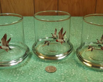 Vintage AVON Chesapeake Collection Mallards in Flight 1981 Limited Edition Drinking Glasses