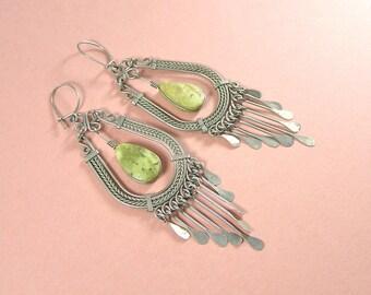 Vintage Gypsy Dangle India Princess Boho Earrings Green Stone