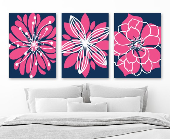 Navy Hot Pink Decor Flower Navy Pink Bedroom Wall Art Decor