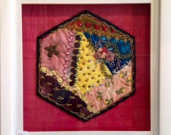 Crazy Patchwork Hexagon - Cerise