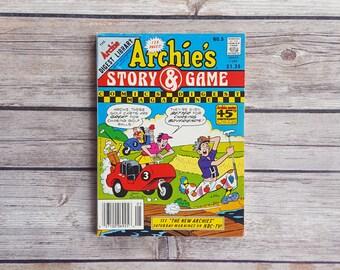 Archie Comic Kids Archie's Story Game No 5 Comics Digest Magazine 1980s Vintage Comic Book 80s Retro Cartoons Rare Graphic Novel Jughead