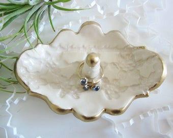 Porcelain antique white, gold rimmed, ring holder, bridesmaid gift,  Mother's day gift, gift for daughter