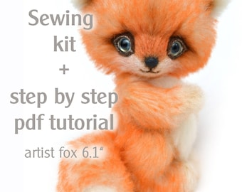 "Sewing kit artist teddy fox Teo 6,1"" with step by step pdf tutorial, handcraft kit, craft set teddy fox"