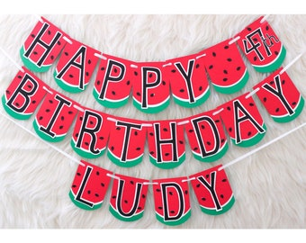 watermelon banner - watermelon birthday - watermelon party - watermelon party decor - one in a melon banner - one in a melon party