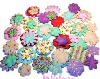 Set of 50 flowers paper multicolor Fun Fair scrapbooking card making (ref.110). *.