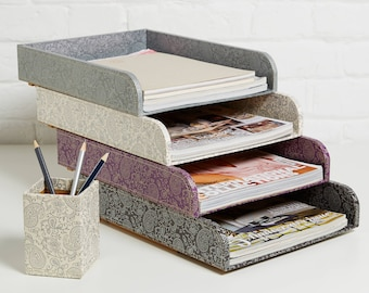 recycled gold and pewter paisley stacking desk tray