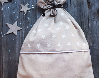 Bag/backpack in printed cotton with stars. Perfect for Kindergarten
