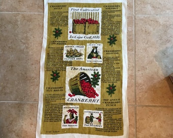 Vintage Kitchen Tea Towel Sewell Jackson American Cranberry Holidays Retro