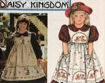 Simplicity Daisy Kingdom sewing pattern 9977 girl's dress & pinafore, calf length, full skirt gathered to raised waistline, uncut 3, 4, 5, 6