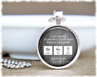 science teacher gift science jewelry periodic table chemistry necklace science gifts - Au Pendant Periodic Table