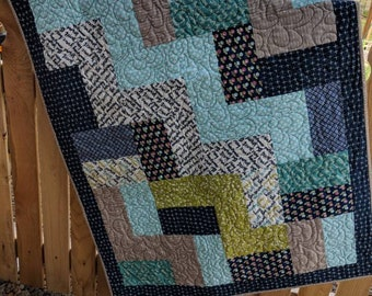 Rail Fence crib quilt, Navy,aqua, green and tan