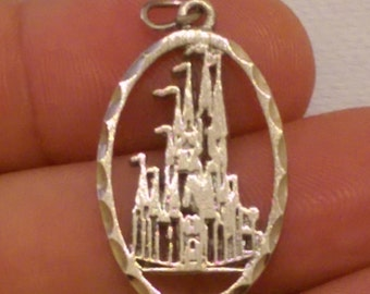 Vintage Genuine Sterling silver 1970's Walt Disney Productions Magic Kingdom Cinderella Castle Charm.