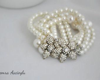 Pearl Bridal Bracelet, Handmade Weddings ,Multistrand Ivory Chunky Pearl Bracelet , 2 rhinestone flower brooches,Brides Wedding Jewelry