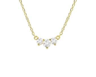 Classic Trio Diamond Necklace / 14k Gold Diamond Necklace 0.26 Ctw /Past Present Future / Prong Setting 3 Stone Graduation Gift