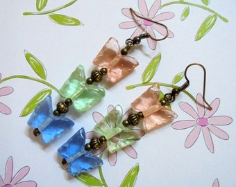 Pink, Blue and Green Pastel Butterfly Earrings (3693)