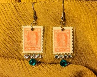 Vintage postage stamp earrings