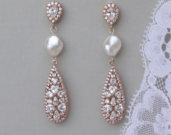 Rose Gold Crystal Earrings, Crystal & Pearl Bridal Earrings, CLIP ON Earring Option, Bridal Jewelry, Gold, Rose Gold, RITA